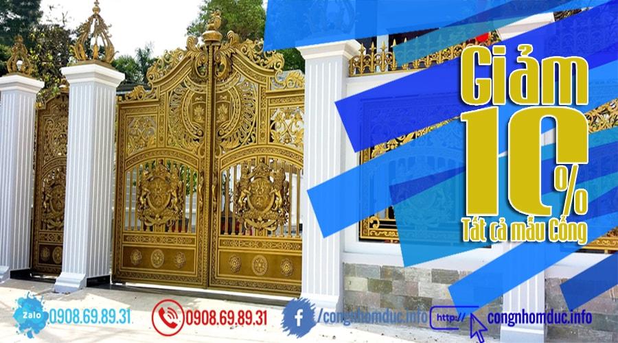 banner cổng nhôm đúc