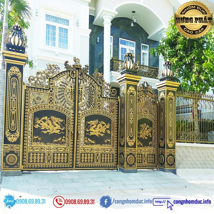 cổng nhôm đúc hưng phát 118
